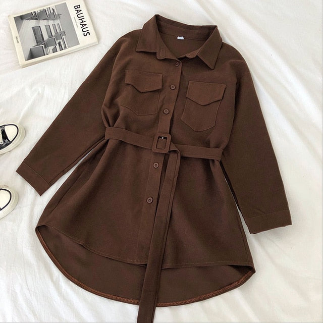 Corduroy Long Sleeve Dress Women Solid Buttons Pockets Turn-down Collar Simple Elegant Sashes All-match Womens Vintage Harajuku