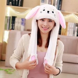 free ship 2018 Fashion Moving Hat Rabbit Ears Plush Sweet Cute Airbag Cap 18 color can be choose  Polyester