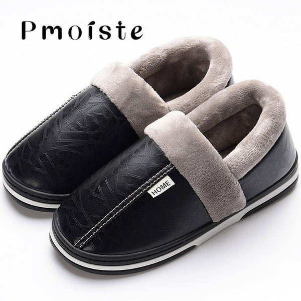 Men's slippers Winter slippers Non slip Indoor Shoes for men leather Big size 49 House shoe Waterproof Warm Memory Foam Slipper