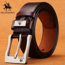 Load image into Gallery viewer, NO.ONEPAUL cow genuine leather luxury strap male belts for men new fashion classice vintage pin buckle men belt High Quality