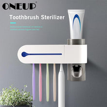 Load image into Gallery viewer, ONEUP Antibacteria Ultraviolet Toothbrush Holder Sterilizer Automatic Toothpaste Dispenser Squeezer Bathroom Accessories Set