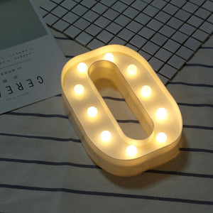 Luminous LED Letter Night Light Creative 26 English Alphabet Number Battery Lamp Romantic Wedding Party Decoration