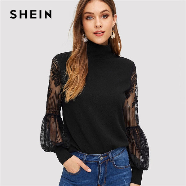 SHEIN Women High Neck Lace Lantern Sleeve Top Fashion Mesh Blouse Women's Long Sleeve Pattern Printing Ladies Tops