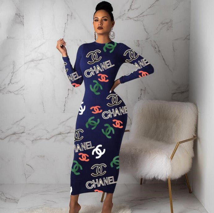 Women Crew Neck Long sleeves Maxi dresses