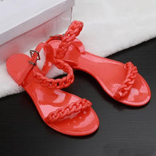 Load image into Gallery viewer, New plastic chain beach shoes candy color jelly sandals chain flat bottomed out sandals Europe and the United States Top Quality free shippi