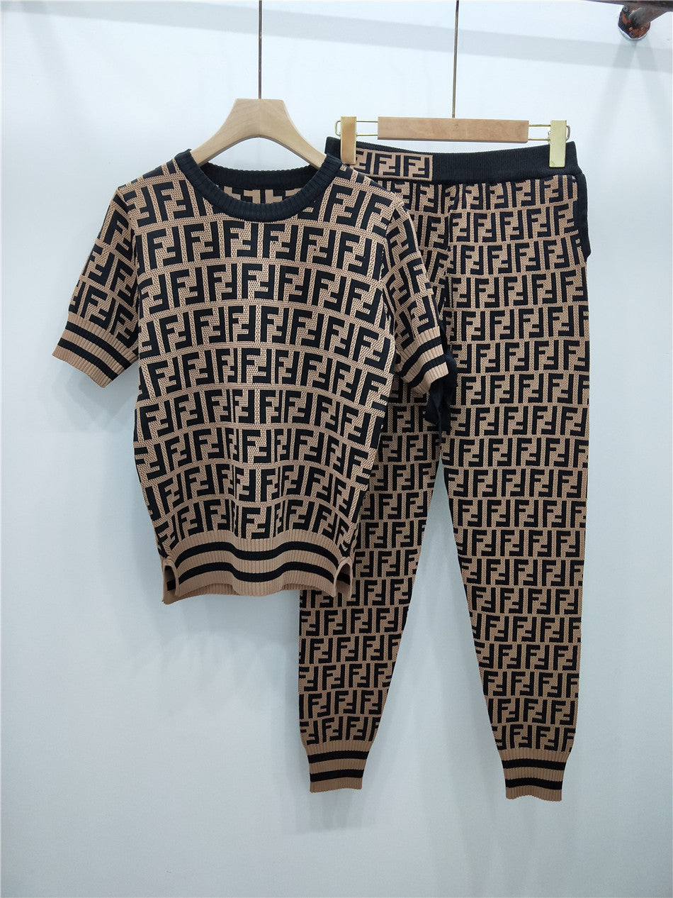 Short Sleeve Strap Bow Knit Top F Feet Pants Set
