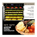 ChefWave Secco Pro Food Dehydrator with 6 Drying Racks (Stainless Steel)