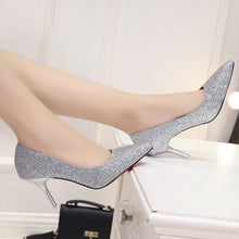 Load image into Gallery viewer, Korean fashion gold pointed high heels Shoes