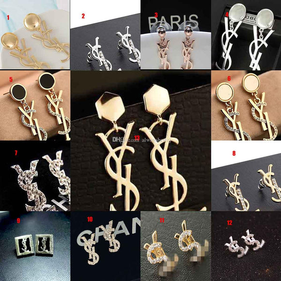 Various Letters Dangle Design Earrings Crystal Enamel Eardrop