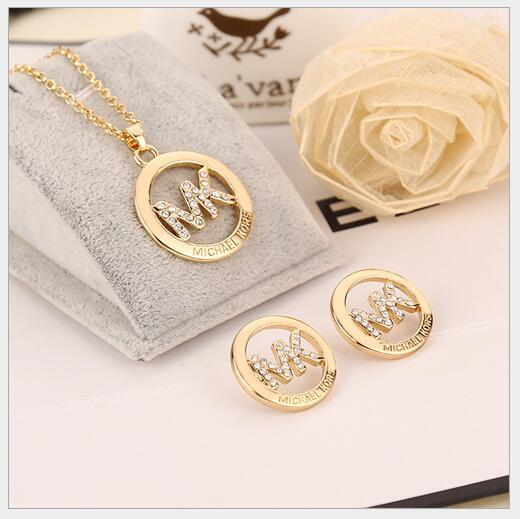 NEW 925 Sterling Silver Gold Pendants Necklace + Earrings for Women