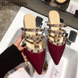 Fashion Luxury Rivet T-strap Slides Slip On Loafers Mules