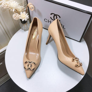 Women High Heels Nude Leather Pointed Toes Pumps