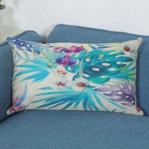 Linen Pillowcase Tropical Plant Flowers And Plants Peacock Feather Figure Long Pillow Cushion Cover