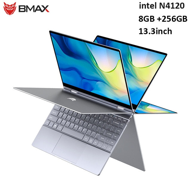 BMAX Y13 360° Laptop 13.3 inch Notebook Windows 10 Pro 8GB LPDDR4 256GB SSD 1920*1080 IPS Intel N4120 touch screen laptops|Laptops| |