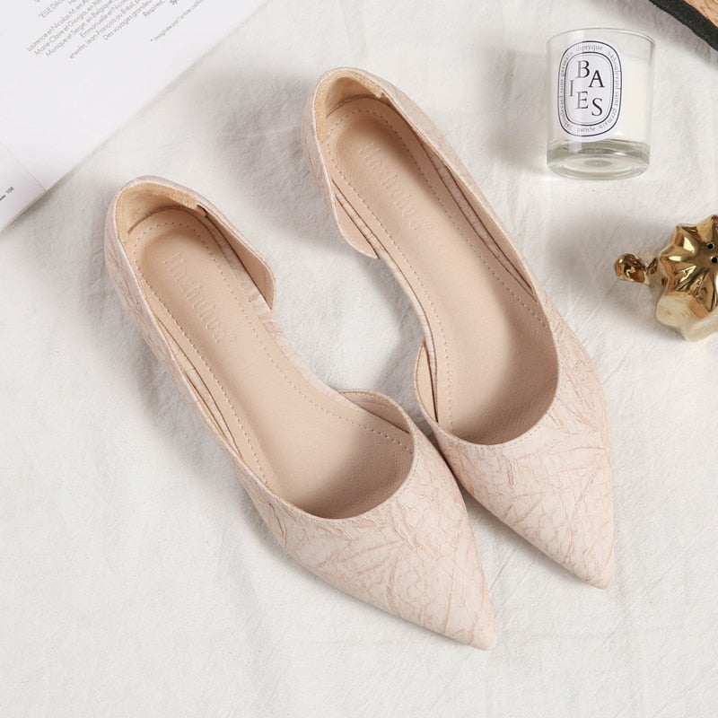 pointed toe flats women high quality leather