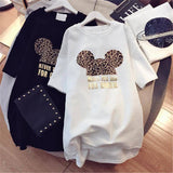 Womens Designer T shirts Brand Dresses with Animal Lovely Mouse Fashion New Arrival Summer Dress for Women Short Sleeve Long Tee Dress M-XXL