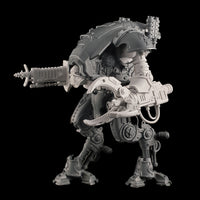 "alt=""Resin multi part claw arm, assembled on an Imperial knight Armiger, along with skull head and radiation beam gun"""