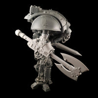 "alt=""Imperial Knight Resin Combat arm Assembled with double headed axe, on an imperial knight kit, a sword in the background"""