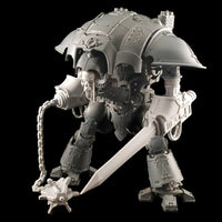 "alt=""Two Imperial Knight Resin Combat arms assembled on imperial knight, right hand arm with chain and mace head. Left hand arm with sword attachment. Shown with skull head"""