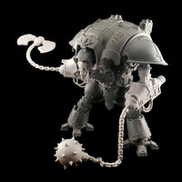 "alt=""Two Imperial Knight Resin Combat arms assembled on imperial knight, right hand arm swinging chain and axe head. Left hand arm with relaxed chain and spiked ball. Shown with skull head"""