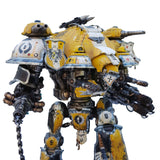 "alt=""imperial knight dominus shoulder mounted tilt shield shown on yellow painted hawkshroud valiant detail of shoulder"""