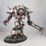 "alt=""chaos knight rampager painted up as the crimson slaughterer, with the addition of chainsword and waist extension"""