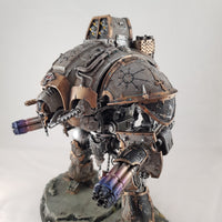 "alt=""imperial knight shoulder guard on a grey painted chaos knight crusader renegade"""