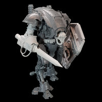 "alt=""imperial knight armiger model shown with knight head, breach shield, waist extension and combat sword, from the right"""
