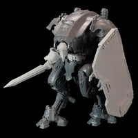 "alt=""imperial knight armiger model shown with knight head, breach shield, waist extension and combat sword"""