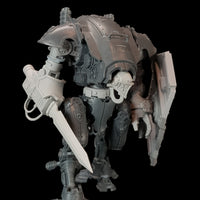 "alt=""imperial knight armiger model shown with knight head, breach shield, waist extension and combat sword, closer view from the right"""