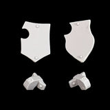 "alt=""Imperial knight armiger tilt shields shown as a pair with their mounting brackets, front view"""