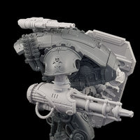 "alt=""plain pintle mounted gun shown mounted on an armiger armed with shield and conversion beam cannon shown from the right hand side"""