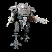 "alt=""imperial knight armiger modelled with skull head cables loose and drooping, radiation beamer, electromagnetic lock and waist extender, aiming to its left"""