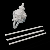 "alt=""armiger replacement skull head shown with straight cable lengths unassembled"""