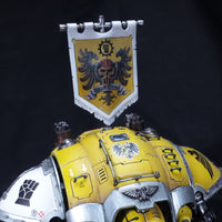 "alt=""Imperial knight canopy mounted banner pole, painted example on a yellow hawkshroud knight"""