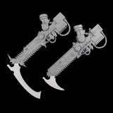 "alt=""imperial knight blade and scythe ends shown on chainswords that come in the imperial knight kit"""