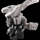"alt=""tau broadside battlesuit missile arms assembled on a tau broadside model with additional railgun add-ons shown from side"""