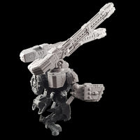 "alt=""tau broadside battlesuit railgun assembled on a broadside model along with missile arms shown from rear right hand side"""
