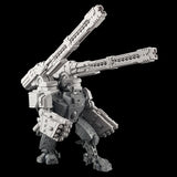 "alt=""tau broadside battlesuit railgun assembled on a broadside model along with missile arms, railguns shown with one tilted to the sky"""