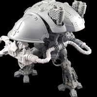 "alt=""power cables attached to the power pack of an imperial knight and curving out to attach to a claw arm"""