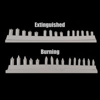 "alt=""example of a sprue of both burning and extinguished candles"""
