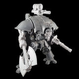 "alt=""imperial knight canopy mounted gatling cannon assembled amounted atop a knight, full view of knight armed with axe, lightening cannon and santa skull head"""