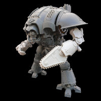 "alt=""imperial knight chain fist assembled on the left arm of an imperial knight"""