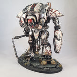 "alt=""imperial knight chain fist assembled on a painted chaos knight renegade with flail"""