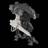 "alt=""Armiger resin combat arm assembled with sword, shown on an imperial knight armiger model, with skull head"""