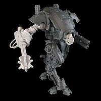 "alt=""Armiger resin combat arm assembled with mace, shown on an imperial knight armiger model, with skull head"""