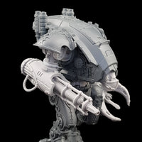 "alt=""armiger convergence beam cannon assembled on an armiger, with custom skull head and combat claw also from the store"""
