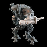 "alt=""Armiger wardog electromagnetic lock energy weapon with gun shield shown on an armiger imperial knight, right hand side view"""