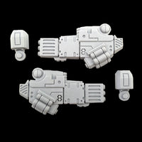 "alt=""tau coldstar battlesuit commander fusion arms unassembled with shoulder joints"""