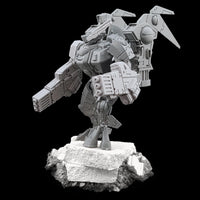 "alt=""tau coldstar fusion arms assembled on plastic battlesuit, pictured with foot up on concrete slab viewed from the left looking away from camera """